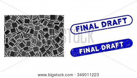 Collage Filled Rectange And Distressed Stamp Seals With Final Draft Caption. Mosaic Vector Filled Re