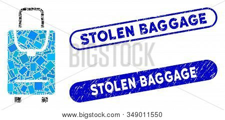 Mosaic Carryon And Corroded Stamp Watermarks With Stolen Baggage Text. Mosaic Vector Carryon Is Crea