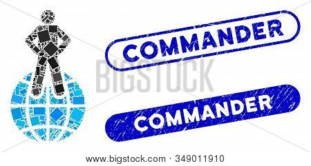 Mosaic World Commander And Corroded Stamp Seals With Commander Text. Mosaic Vector World Commander I