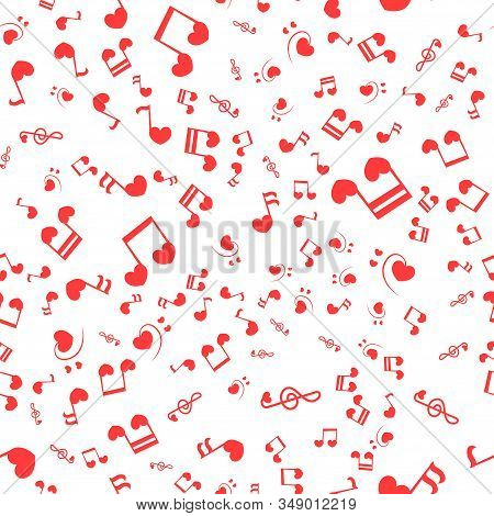 Seamless Patter With Love Music - Notes With Hearts. Do, Re, Mi, Fa, Sol, La, Si, Clef - Sign Of Mus