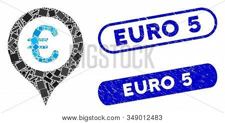 Collage Euro Map Marker And Rubber Stamp Watermarks With Euro 5 Text. Mosaic Vector Euro Map Marker