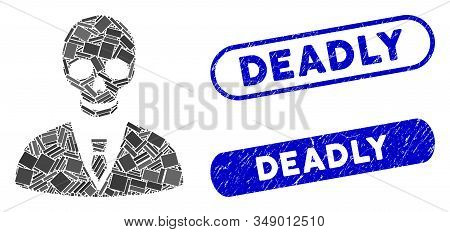 Mosaic Deadly Manager And Corroded Stamp Seals With Deadly Text. Mosaic Vector Deadly Manager Is For