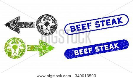 Mosaic Cow Exchange Arrows And Grunge Stamp Seals With Beef Steak Text. Mosaic Vector Cow Exchange A