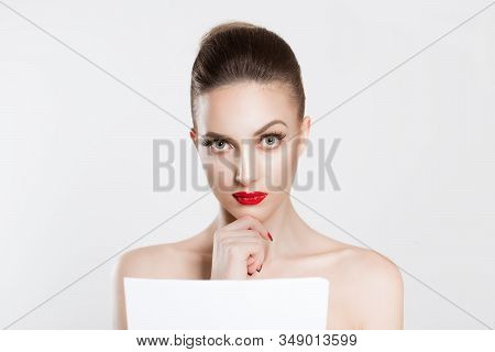 Skeptical About New Contract. Actress Bride Beauty Woman Looking At You Camera Thinking Analyzing Ho