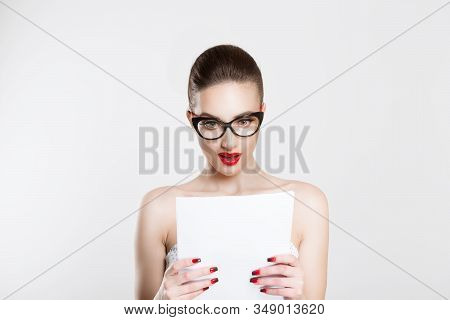 Astonished With Her Monthly Statement. Actress Looking Amazed At Role Lines, Bride Surprised With He