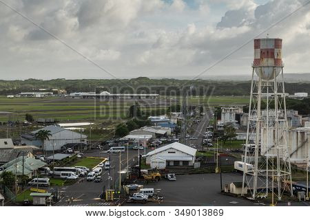 Hilo, Hawaii, Usa. - January 14, 2020: Road Into Ocean Port With Warehouses And Tanks On Both Side.