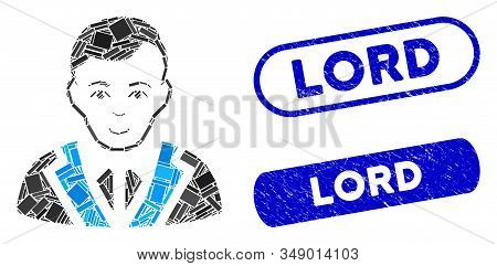 Mosaic Noble Gentleman And Grunge Stamp Watermarks With Lord Phrase. Mosaic Vector Noble Gentleman I