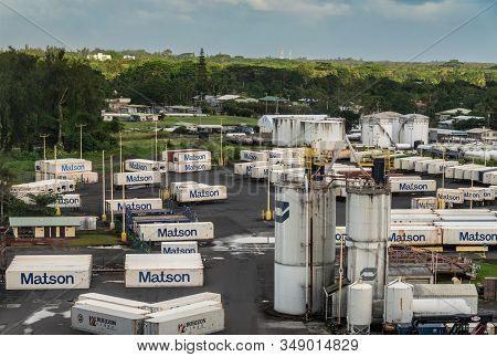 Hilo, Hawaii, Usa. - January 14, 2020: Ocean Port. White Fuel Tanks Surrounded By Matson Shipping Co
