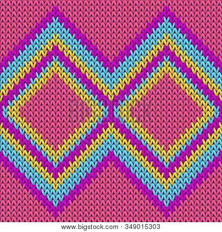 Fashionable Rhombus Argyle Knitting Texture Geometric Vector Seamless. Scarf Stockinet Ornament. Tra
