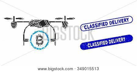 Collage Bitcoin Airdrone And Grunge Stamp Seals With Classified Delivery Phrase. Mosaic Vector Bitco