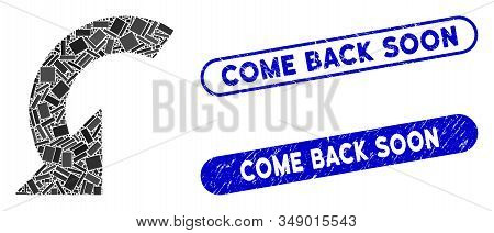Mosaic Rotate Left And Distressed Stamp Seals With Come Back Soon Caption. Mosaic Vector Rotate Left