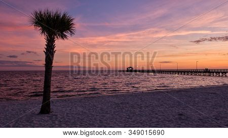 Sunset On The Beach In Biloxi, Mississippi