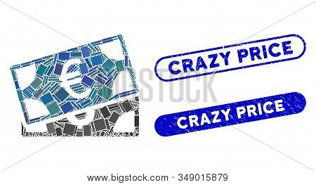 Mosaic Currency Banknotes And Distressed Stamp Seals With Crazy Price Text. Mosaic Vector Currency B