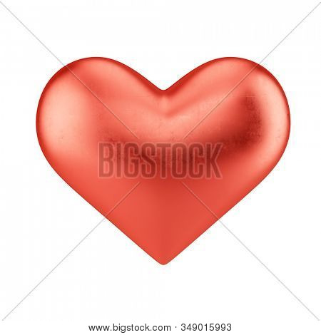 Red metall heart isolated on white background. Valentine's Day and love sign. 3d rendering