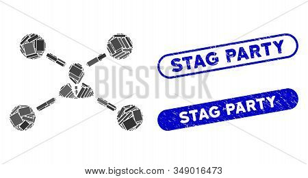 Mosaic User Links And Distressed Stamp Seals With Stag Party Phrase. Mosaic Vector User Links Is Des