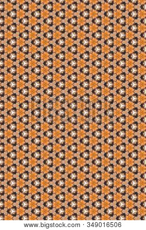 A Faded Ocher Geometric Abstract Background Of Stylized Flowers Heads