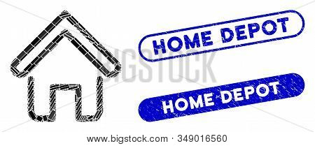 Mosaic Home And Distressed Stamp Seals With Home Depot Caption. Mosaic Vector Home Is Created With R