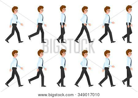 Young, Adult Eyeglasses Man Walking Sequence Poses Vector Illustration. Moving Forward, Fast, Slow G