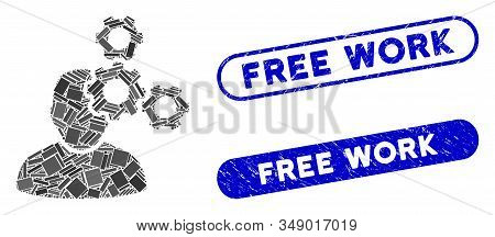 Mosaic Mechanics Specialist And Distressed Stamp Seals With Free Work Text. Mosaic Vector Mechanics