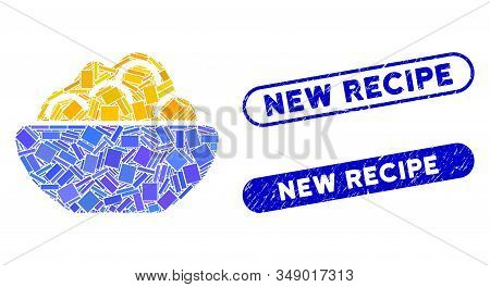Mosaic Porridge Bowl And Corroded Stamp Watermarks With New Recipe Text. Mosaic Vector Porridge Bowl