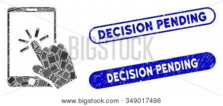 Mosaic Click Smartphone And Corroded Stamp Seals With Decision Pending Phrase. Mosaic Vector Click S