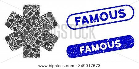 Mosaic Multiply Math Operation And Grunge Stamp Seals With Famous Phrase. Mosaic Vector Multiply Mat