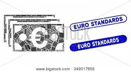 Mosaic Euro Banknotes And Rubber Stamp Seals With Euro Standards Phrase. Mosaic Vector Euro Banknote