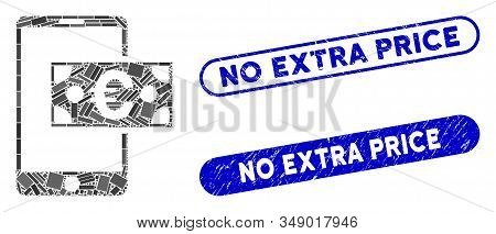 Mosaic Euro Mobile Cash And Grunge Stamp Seals With No Extra Price Caption. Mosaic Vector Euro Mobil