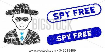 Mosaic Spy And Corroded Stamp Seals With Spy Free Phrase. Mosaic Vector Spy Is Formed With Scattered