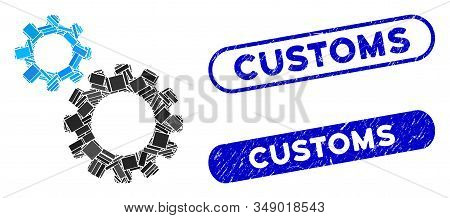 Mosaic Transmission Gears And Grunge Stamp Seals With Customs Phrase. Mosaic Vector Transmission Gea