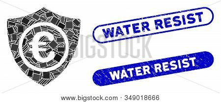 Mosaic Euro Protection And Rubber Stamp Seals With Water Resist Text. Mosaic Vector Euro Protection