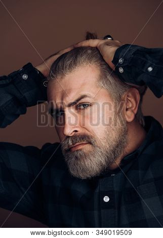 Sexy Gorgeous Stylish Man. Close-up Face Of Young Bearded Man On Dark Background - Professional Stud