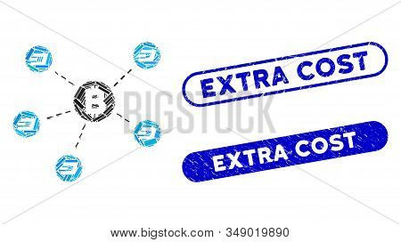 Mosaic Bitcoin Dash Network And Distressed Stamp Seals With Extra Cost Text. Mosaic Vector Bitcoin D
