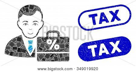 Mosaic Tax Accounter And Distressed Stamp Watermarks With Tax Text. Mosaic Vector Tax Accounter Is D