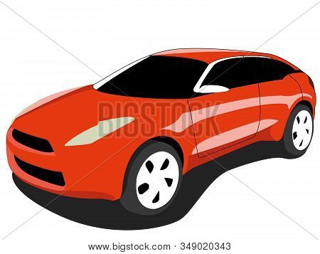 Crossover Car Orange Realistic Vector Illustration Isolated No Background
