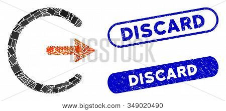 Mosaic Logout And Rubber Stamp Seals With Discard Text. Mosaic Vector Logout Is Formed With Randomiz