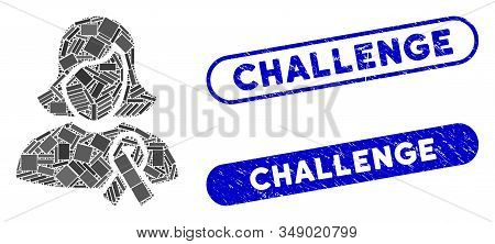 Mosaic Solidarity Tie And Grunge Stamp Seals With Challenge Text. Mosaic Vector Solidarity Tie Is Co