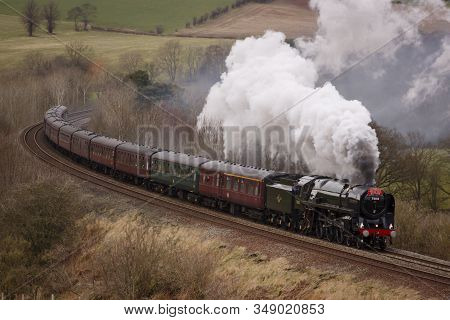 Armathwaite, England - February 25:  Preserved Steam Locomotive 70013 Oliver Cromwell Heads The Cumb