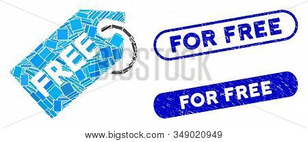 Mosaic Free Tag And Distressed Stamp Seals With For Free Phrase. Mosaic Vector Free Tag Is Formed Wi