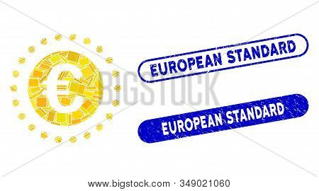 Mosaic Euro Gold Coin And Distressed Stamp Seals With European Standard Phrase. Mosaic Vector Euro G