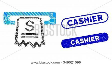 Mosaic Cashier Receipt And Distressed Stamp Watermarks With Cashier Caption. Mosaic Vector Cashier R