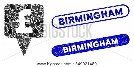 Mosaic Pound Map Pointer And Grunge Stamp Seals With Birmingham Text. Mosaic Vector Pound Map Pointe