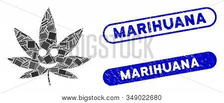 Mosaic Happy Cannabis And Grunge Stamp Seals With Marihuana Phrase. Mosaic Vector Happy Cannabis Is