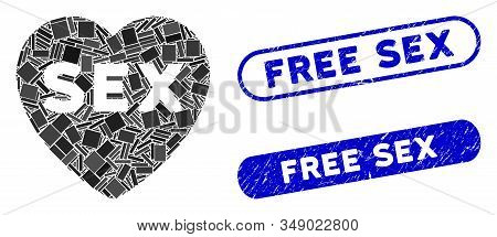 Collage Sex Heart And Grunge Stamp Seals With Free Sex Text. Mosaic Vector Sex Heart Is Composed Wit