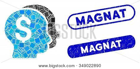 Mosaic Bankers And Rubber Stamp Watermarks With Magnat Caption. Mosaic Vector Bankers Is Formed With