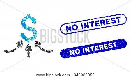 Mosaic Financial Accumulator And Rubber Stamp Watermarks With No Interest Text. Mosaic Vector Financ