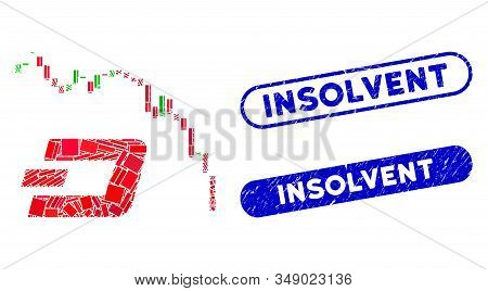 Mosaic Dashcoin Fall Chart And Corroded Stamp Seals With Insolvent Phrase. Mosaic Vector Dashcoin Fa
