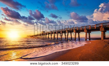 The Famous Pier Of Venice While Sunset, Florida