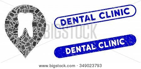 Collage Stomatology Marker And Rubber Stamp Watermarks With Dental Clinic Caption. Mosaic Vector Sto
