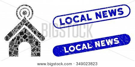 Mosaic Telecom Office And Grunge Stamp Seals With Local News Phrase. Mosaic Vector Telecom Office Is